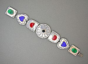 Coral Lapis malachite Sterling Silver heart bracelet. (Image1)