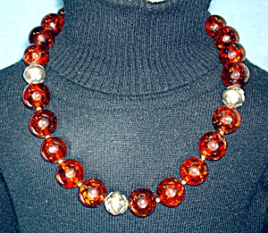 Amber and Sterling Silver Designer EXEX Necklace (Image1)
