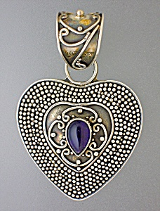 Amethyst Sterling Silver Heart pendant Signed SUARTI (Image1)