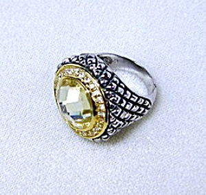 Sterling Silver Crystal Citrine Ring Signed Pk