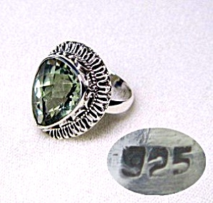Sterling Silver Green Amethyst Heart Ring (Image1)