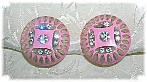 Carved Pink Rhinestone Lucite Earrings (Image1)