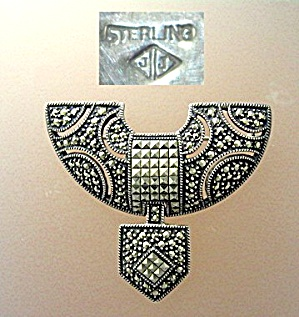 Sterling Silver Antique  Marquisite Brooch marked JJ (Image1)