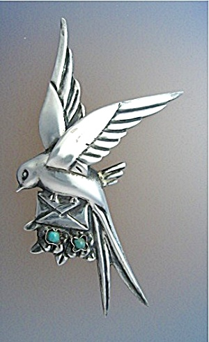 Silver Turquoise Loveletter Bird Mexico brooch (Image1)