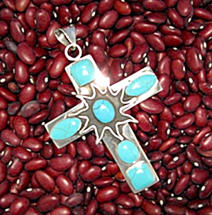 Sterling Silver Turquoise Cross Signed  MOB Mexico (Image1)
