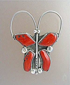 Native American Coral Sterling Silver Francis Eustice