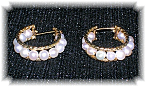 10K Gold Genuine Pearl Hoop Earrings. (Image1)