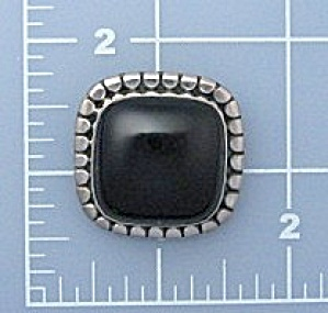 Sterling Silver Black Onyx pebble Surround Brooch Pin (Image1)
