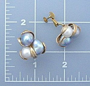 Earrings 14K Gold Baroque Genuine Pearl Clip (Image1)