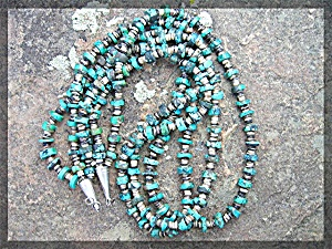Necklace Turquoise Heishi 3 Strand Sterling Silver Poin
