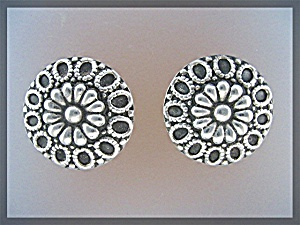 Earrings Sterling Silver Taxco Mexico Clip Earrings (Image1)
