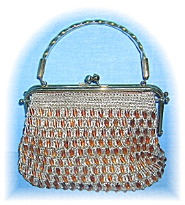 Lucite Handle Woven Beaded Bag
