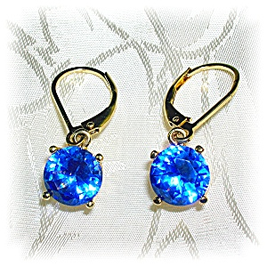 Sterling Silver Gold Vermeil Created Sapphire Earrings