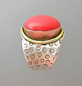 Sterling Silver Coral Brass Arts Crafts Ring (Image1)