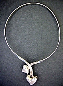 Taxco Mexico Sterling Silver Double Heart Necklace (Image1)