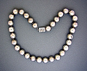 Necklace Taxco Sterling Silver Mexico  Beads Signed R (Image1)