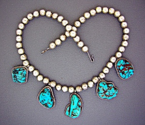 Sterling Silver turquoise Beads 5 Pendant Necklace (Image1)