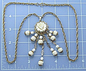 Ivory Bone Flowers Dangle Necklace