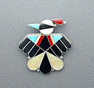 Native American Zuni Sterling Silver Coral Turquoise Rl