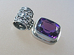 Sterling Silver 8ct  Amethyst Pendant (Image1)