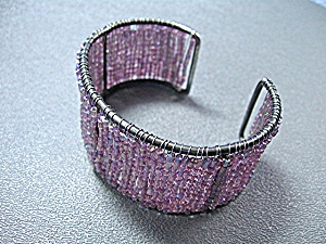 Silvedrtone Crystals Beaded Cuff Bracelet (Image1)