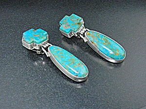 David Troutman Turquoise Sterling Silver Clip Earrings