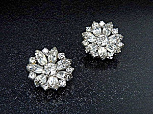 Crystal Rhodium Plated Clip Earrings Kramer