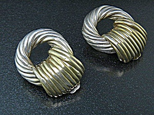 Sterling Silver Clip Earrings Israel Signed  (Image1)
