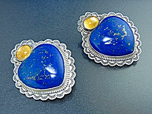 David Troutman Sterling Silver Lapis Amber Heart Earrin