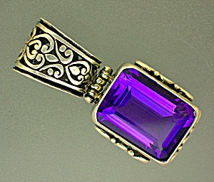 Sterling Silver Square Amethyst Hinged pendant (Image1)