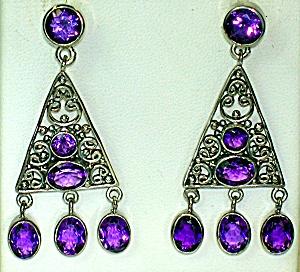 Sterling Silver Amethyst Chandelier Earrings (Image1)