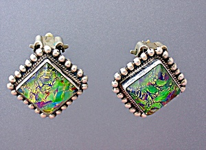 Sterling Silver Mexican Opal Clip Earrings mexico (Image1)