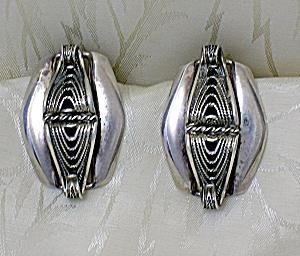 Sterling Silver Danecrazft Scrolled Clip Earrings (Image1)