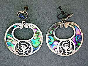 Mexico Sterling Silver Signed Abalone Earrings MA (Image1)