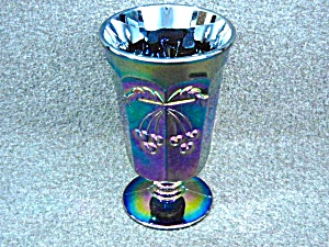 "Purple Carnival Glass ""cherry"" Footed Tumbler"