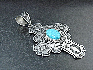 Native American Turquoise Sterling Silver Cross A Jake