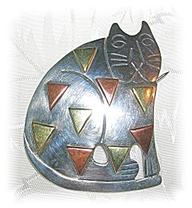 STERLING SILVER CAT PENDANT BROOCH MEXICO.... (Image1)