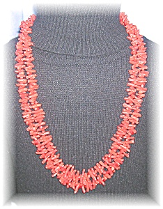 Coral 2 Strand Red Branch Coral Necklace