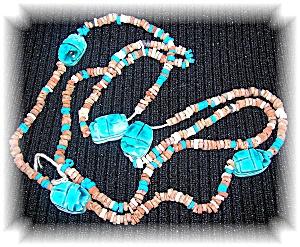 Blue Glazed Ceramic and Clay Scarob Necklace (Image1)