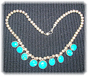Necklace Sterling Silver Turquoise Drops