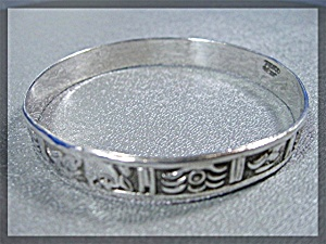 Bracelet Sterling Silver Bangle Mexico Aztec Motif (Image1)