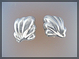 Earrlings Sterling Silver Mexico Clips  Mark TO - (Image1)