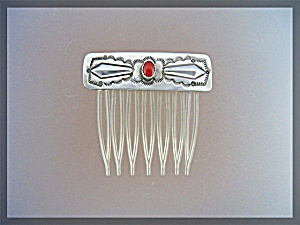 Native American Coral Sterling Silver Comb Charlie Morg (Image1)