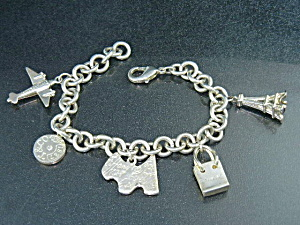 Tiffany Sterling Silver 5 Charms Bracelet