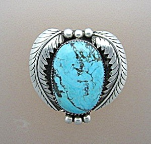 Native American Sterling Silver Turquoise Pin Pendant