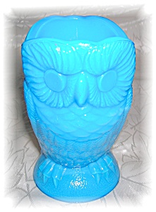 TURQUOISE BLUE GLASS OWL TOOTHPICK HOLDER... (Image1)