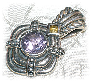 STERLING SILVER AMETHYST & CITRINE PENDANT.. (Image1)