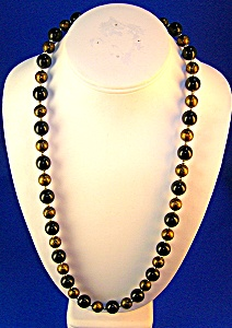 Vintage Black & Gold Plastic Lucite Necklace (Image1)