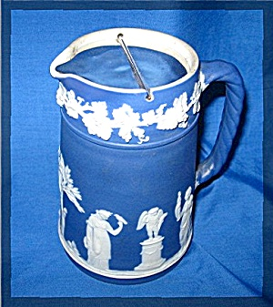 Wedgewood Trojan Jug, Cream Color Figures On Royal Blue (Image1)