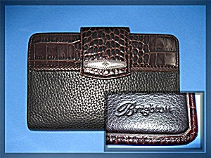 Brighton Black Tan Leather Wallet Purse